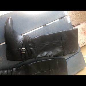 Aldo leather hidden wedge thigh boot